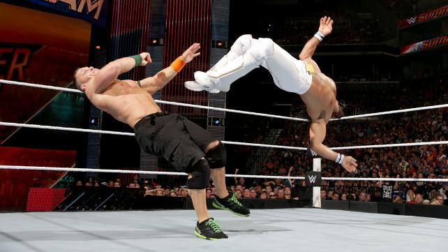 John Cena Seth Rollins flying SummerSlam
