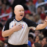 May 20, 2012; Los Angeles, CA, USA; NBA referee Joey Crawford gestures during game four of the Western Conference semifinals of the 2012 NBA Playoffs between the San Antonio Spurs and the Los Angeles Clippers at the Staples Center. Mandatory Credit: Kirby Lee/Image of Sport-USA TODAY Sports